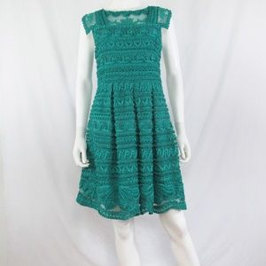 Yoana Baraschi New Light Teal Lace Mesh Dress